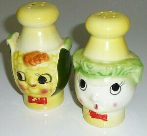 Vintage Salt Pepper Shakers Green Peppers Japan Rosenthal Netter Ceramic