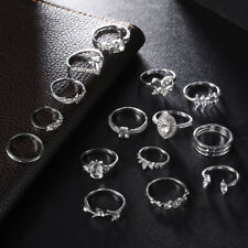 Finger Punk Rings 15pcs/set Silver Crystal Boho Knuckle Girl Jewellery Gift Wrap