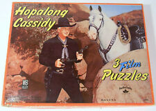 VINTAGE HOPALONG CASSIDY SET OF 3 JIGSAW PUZZLES BY MILTON BRADLEY#4105
