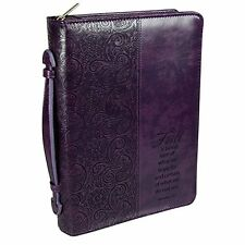 """Purple """"Faith"""" Bible / Book Cover - Hebrews 11:1 (Large) by Christian Art Gifts"""