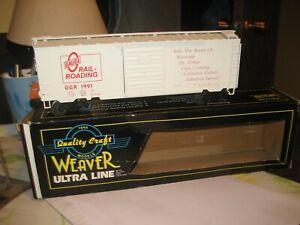 WEAVER BOXCAR, BOXED, O-GAUGE RAILROADING 1991 CAR, NICE SHAPE