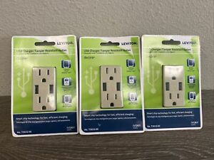 3PK Leviton 3.6A Ivory 2Port USB Charging Outlet With 5-15R Outlet R01-T5632-0BI