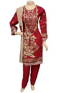 Pakistani Indian Printed Embroidered Linen Suit, Stitched Shalwar Kameez Salwar