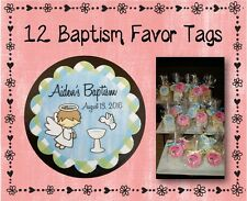 "12 Personalized Baptism Party Favor Tags-2"" Round Scalloped -#1 Blue/Green Plaid"