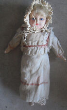 """Vintage 1800s Composition Mache Hay Stuffed Body Girl Doll 11 1/2"""" Tall"""