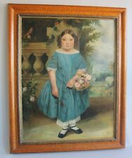 Huge Mid-19TH C. Oil Painting OF ANN STEWART, AGE 5 YEARS  c. 1851   antique
