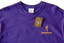 Men's BROWNING Purple Gold Logo Buck Long Sleeve Tee Shirt T-Shirt XLarge XL NWT