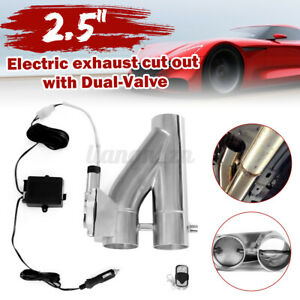 2.5'' 63mm Electric Exhaust Pipe Dual Valve E-Cut CutOut + Wireless Remote Kits