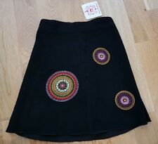 Hanna Andersson BNWT 3-4 years girl skirt 100 black needlecord embroidered