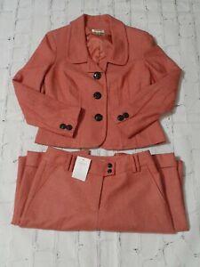 Talbots Pant Suit 8 Blazer Jacket & Pants Pink Salmon Womens Work Career Attire