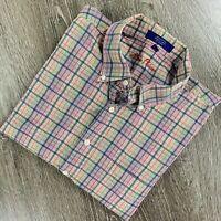 Alan Flusser men's shirt long sleeve button down cotton plaid. Size L