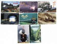 Railroad Trains 1980s Set of 8 Japan Telepphone Cards Vintage Original