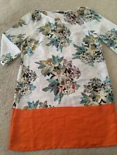Zara Floral Print Orange Silk Tunic Dress Sz M Beautiful rARE!!