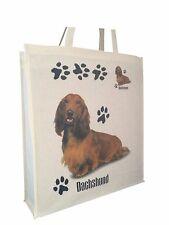 Dachshund Longhair (b) Cotton Shopping Tote Bag Gusset and Long Handles