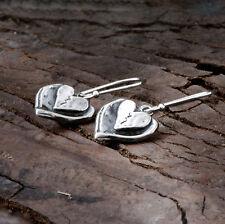 Unique Design Hearts Dangle Earrings 925 Sterling Silver Women's Jewelry X852