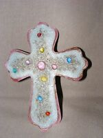 VINTAGE LIMOGES ENAMEL ON COPPER CROSS GUILLOCHE ENAMEL FRENCH CRUCIFIX