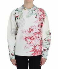 NWT MASHA REVA Sweater Multicolor Motive Print Cotton Crewneck Pullover s M