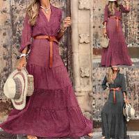 Women Long Sleeve Polka Dot Boho Dresses Ladies V-Neck Maxi Long Dresses Holiday