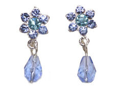 Vanessa Vintage Copo De Nieve Azul Flor Diamanté Cristales pendientes (ZX29/54)