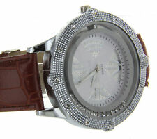 Iced Out Hip Hop Big Face Men's Watch Genuine Leather Band Seiko Instrument