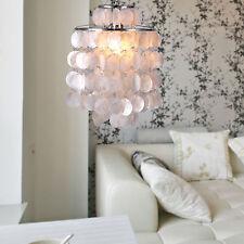 Luxury Ceiling Chandelier White Shell Chrome Lamp Lighting Pendant Capiz Modern