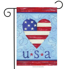 "USA  Heart Patriotic Garden Flag American Flag Honor USA Stars  12.5"" x 18"""