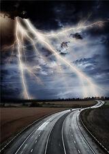 Thunder Lightning  Photography Background Road Scenic Vinyl Photo Backdrop 5x7ft