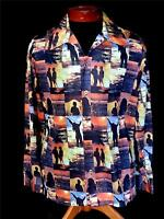 """EXCEPTIONALLY RARE 1960'S """"ENDLESS SUMMER"""" SILKY DISCO PRINT SHIRT SIZE LARGE"""
