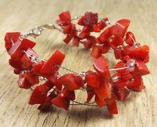 *Freedom Tree* Coral Gemstone Bangle Cuff Bracelet Hand Made Chakra Healing