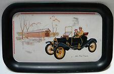 Vintage 1910 Ford Torpedo Car Tin Tray Sign Decor Covered Bridge Vehicle Scene