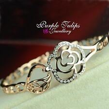 Rose Flower Made With SWAROVSKI Crystals Bangle Bracelet,18K Rose Gold Plated