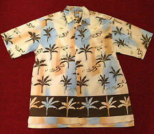 EXOTIC CAMPIA TIKI ISLAND HAWAIIAN SHIRT PALM TREE BORDER PRINT COTTON XL