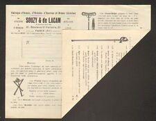 """PARIS (XI°) USINE D'ARMES / EPEE , CANNE-FUSIL """"SOUZY & DE LACAM"""" en 1908"""