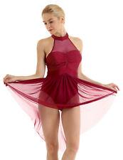 Adult Women's Gymnastics Backless Ballet Dress Dance Wear Leotard Gym Skating XL