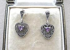 Dainty Deco Inspired Marcasite Silver & Amethyst CZ Heart Drop Earrings