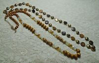 VINTAGE TO NOW WOOD GLASS & SHELL BEADED LONG NECKLACE LOT BROWNS