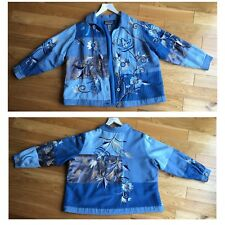Indigo Moon Embroidered Blue Jacket 1XL Foliage Floral Patchwork