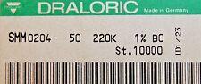 1000pcs resistor 220K ohm minimelf 50ppm 1% 0.4W SMM020450BO 220K DRALORIC