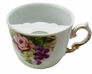 Antique Bavarian Mustache Cup Porcelain Teacup Lusterware Floral Pattern