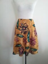 Howard Showers size 10 mustard, aubergine & green polyester A-line skirt