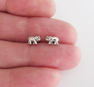 Sterling Silver 5mm Baby Elephant tiny post stud earrings.