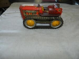 VINTAGE MARX METAL LITHO TRACTOR TD 18 WIND-UP RED DIESEL 12