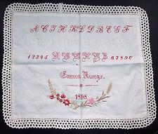 Uraltes ABC Tuch Ostern 1898 Stickerei Sticktuch vintage deko shabby landhaus