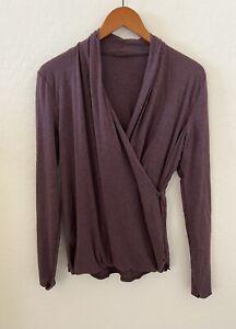 Lululemon Radiant Long Sleeve Heathered Purple Wrap Front Top, Size 8/10