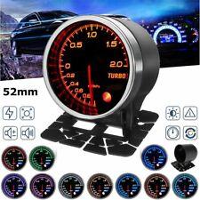 """2"""" 52mm 10 Colors LED Diaplay Turbo Boost Pressure Gauge Kit Car Meter Bar 12V"""