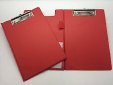 A5 Red Foldover Clipboard with Pen Holder - Clip Board