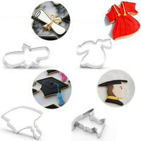 4PCS Cookie Cutters Graduation Theme Biscuit Molds Student Cake Baking Moulds