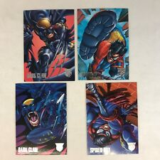 "PROMO CARD SET: DC VS MARVEL (Fleer-Skybox/1996) Complete ""AMALGAM PREVIEW"" (4)"