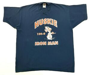 Vintage Huskie Iron Man Tee Navy Blue Size XXL Mens T-Shirt