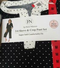 NWT FN By Flora Nikrooz  2 Piece PJ Set Pajama 3/4 Sleeve & Crop Pant